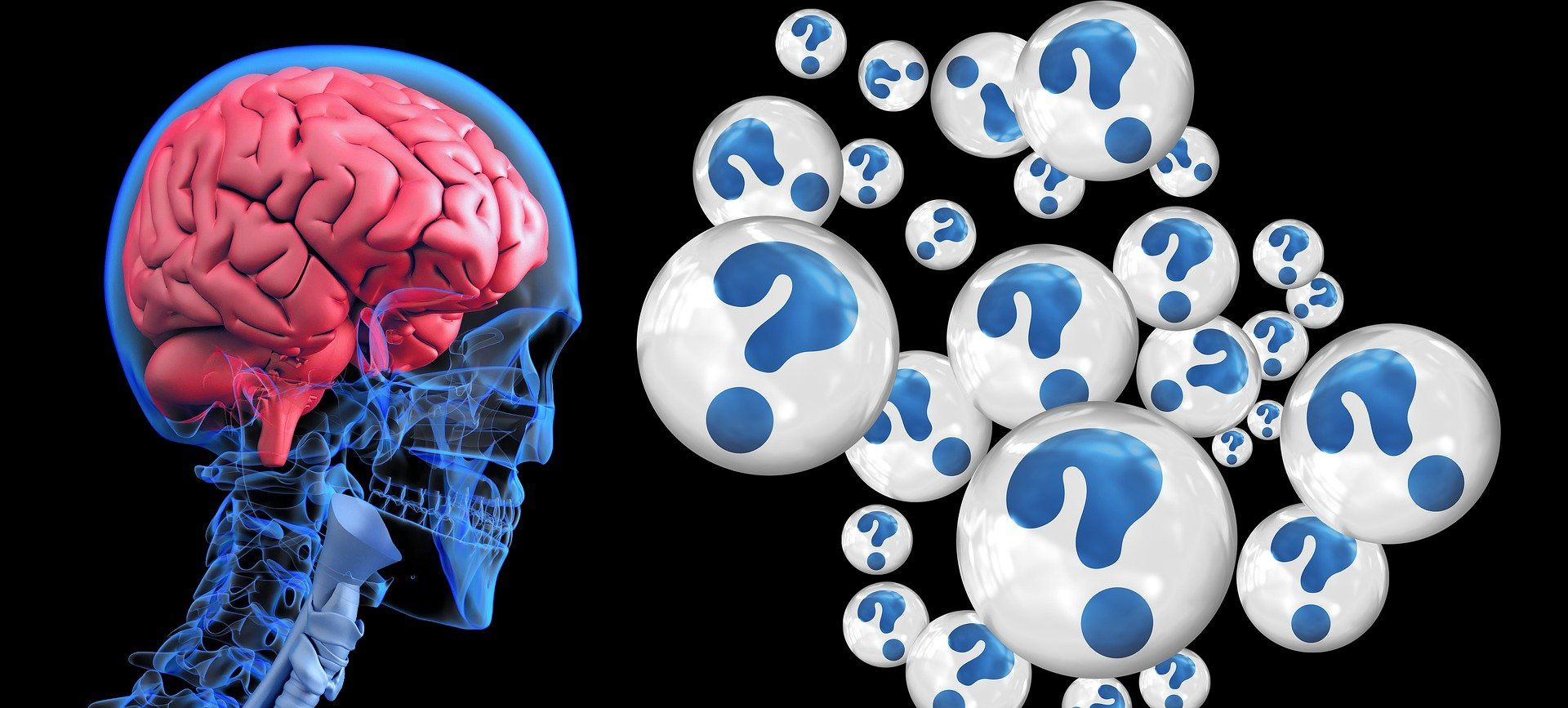 brain with question marks, complex computing power within brains