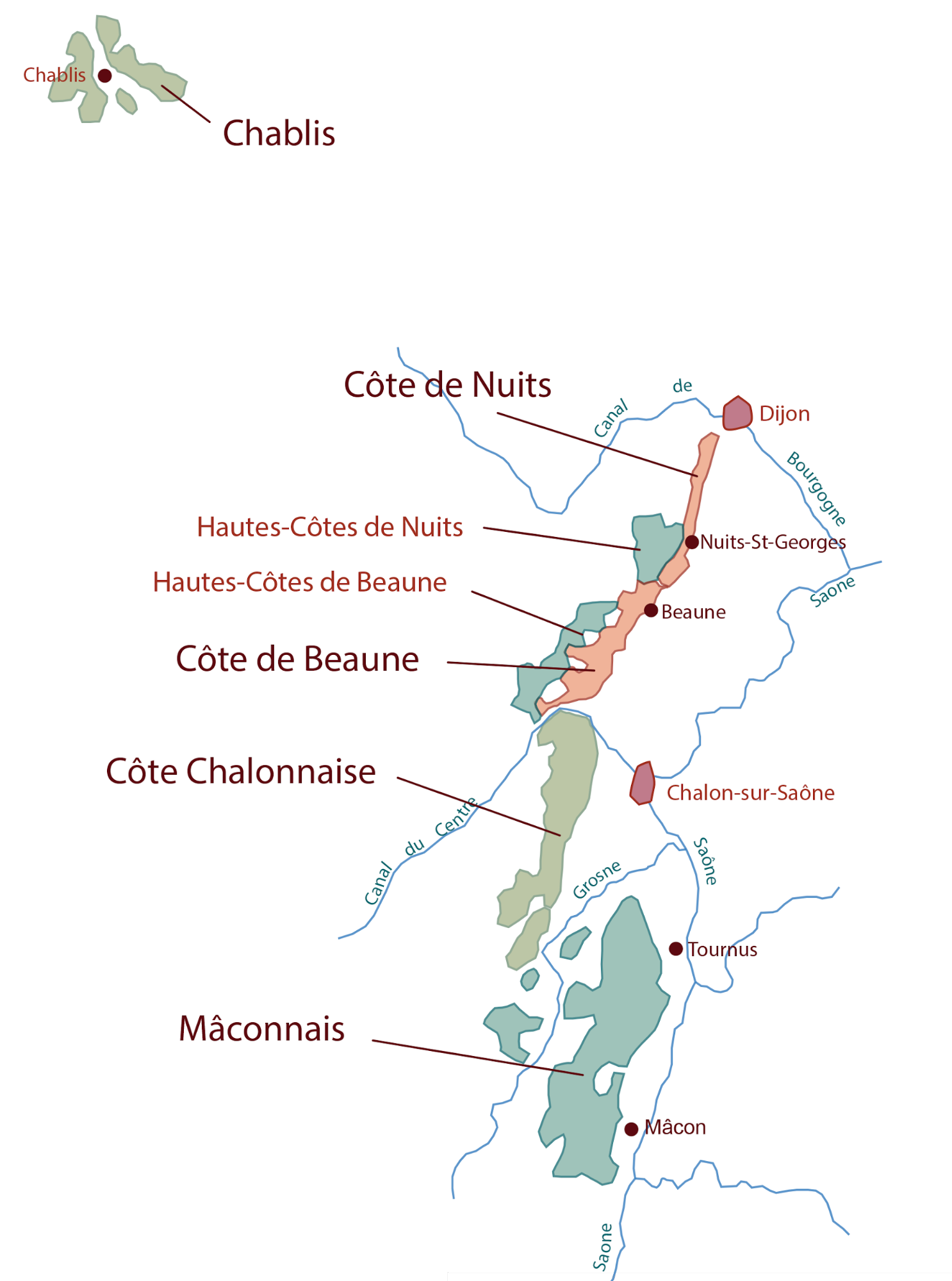 Bourgogne wine region of France; White Burgundy wine