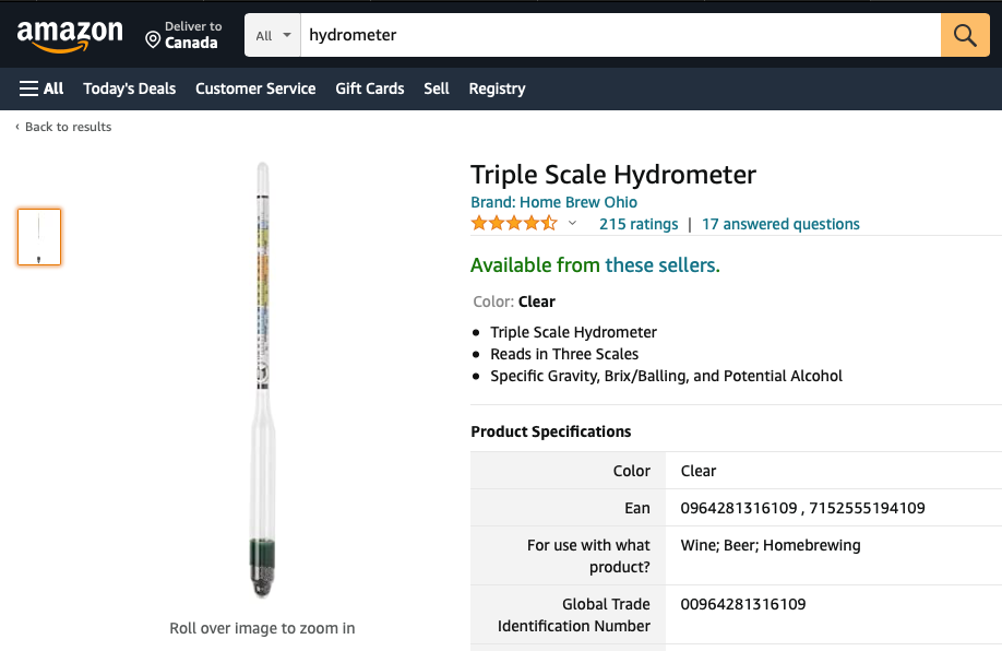 Hydrometer on Amazon to make wine at home