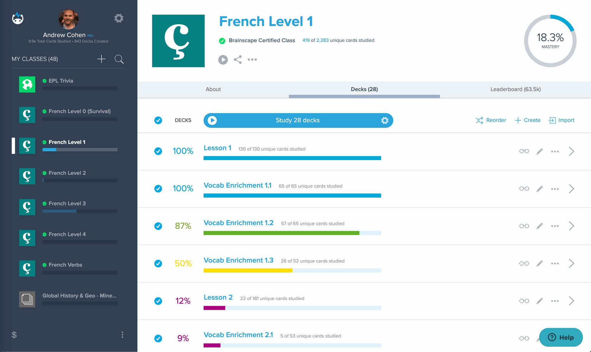 Screenshot of Brainscape Dashboard French Level 1